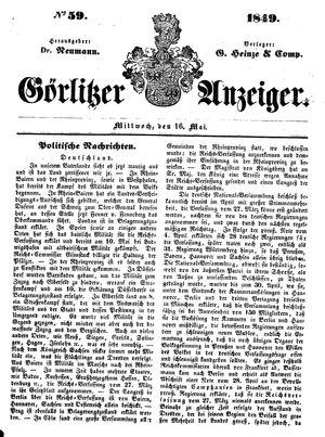 Görlitzer Anzeiger vom 16.05.1849