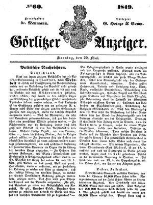 Görlitzer Anzeiger vom 20.05.1849