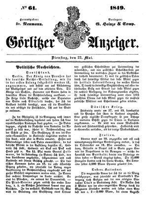 Görlitzer Anzeiger vom 22.05.1849