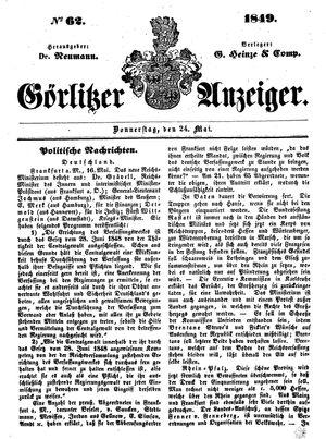 Görlitzer Anzeiger vom 24.05.1849