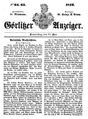 Görlitzer Anzeiger on May 31, 1849