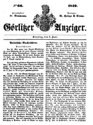 Görlitzer Anzeiger on Jun 3, 1849
