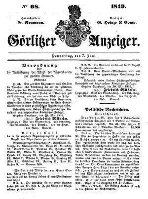 Görlitzer Anzeiger vom 07.06.1849