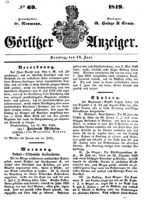 Görlitzer Anzeiger vom 10.06.1849