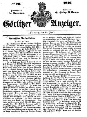 Görlitzer Anzeiger vom 12.06.1849