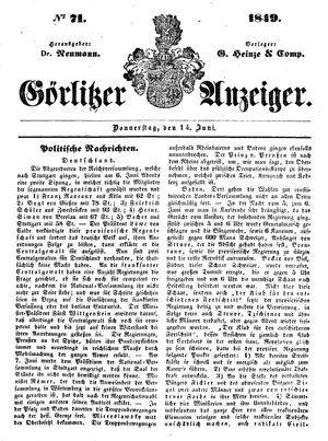 Görlitzer Anzeiger vom 14.06.1849