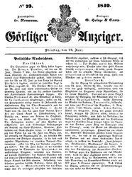 Görlitzer Anzeiger (19.06.1849)