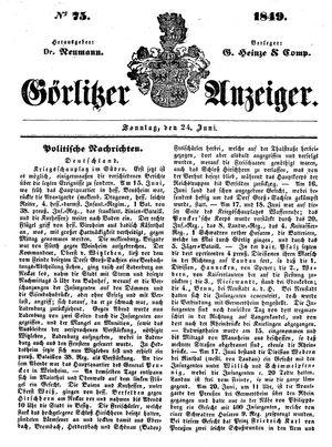 Görlitzer Anzeiger vom 24.06.1849
