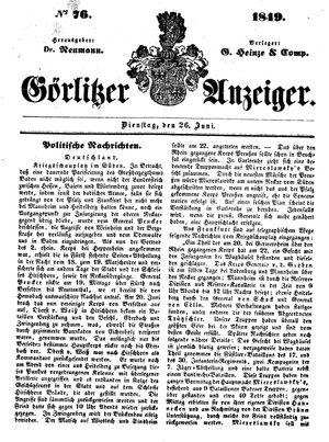 Görlitzer Anzeiger vom 26.06.1849