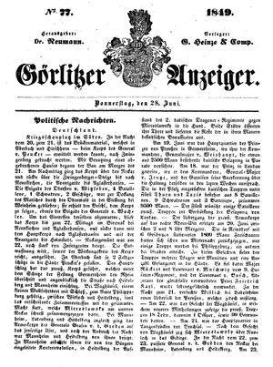 Görlitzer Anzeiger vom 28.06.1849