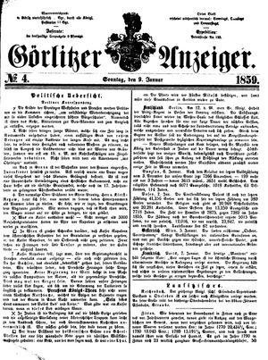 Görlitzer Anzeiger vom 09.01.1859