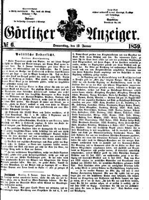 Görlitzer Anzeiger vom 13.01.1859