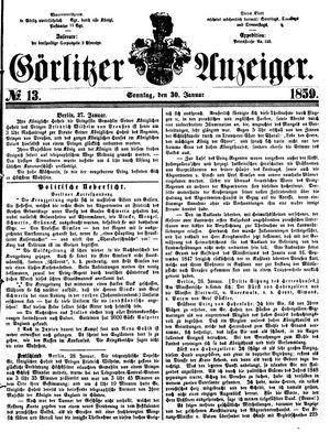 Görlitzer Anzeiger vom 30.01.1859