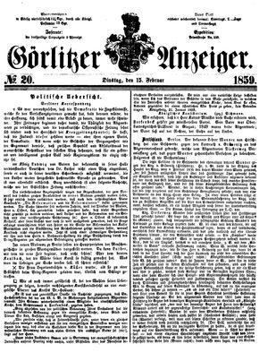 Görlitzer Anzeiger vom 15.02.1859