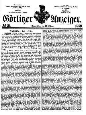 Görlitzer Anzeiger vom 17.02.1859