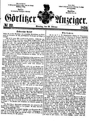 Görlitzer Anzeiger vom 20.02.1859
