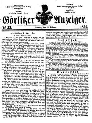 Görlitzer Anzeiger vom 22.02.1859