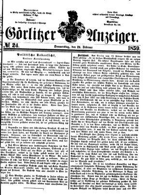 Görlitzer Anzeiger vom 24.02.1859