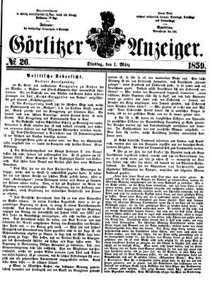 Görlitzer Anzeiger vom 01.03.1859