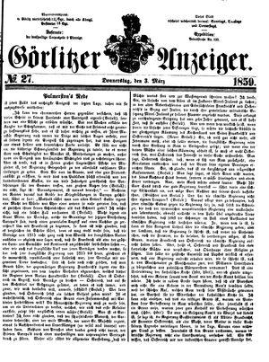 Görlitzer Anzeiger vom 03.03.1859