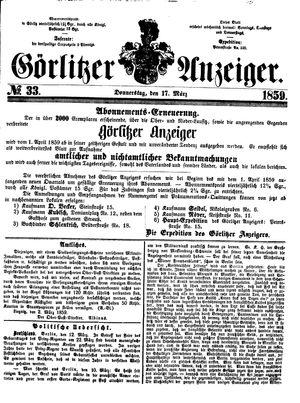 Görlitzer Anzeiger on Mar 17, 1859