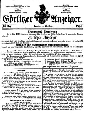 Görlitzer Anzeiger vom 20.03.1859