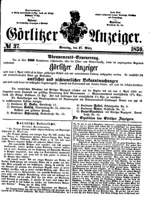 Görlitzer Anzeiger vom 27.03.1859