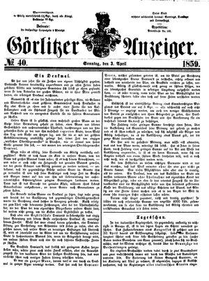 Görlitzer Anzeiger vom 03.04.1859
