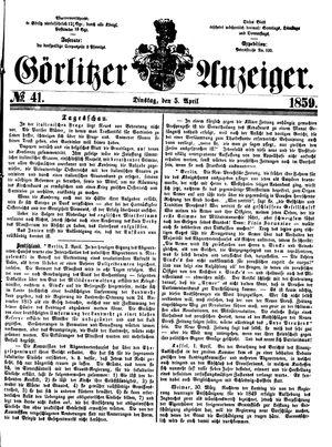 Görlitzer Anzeiger vom 05.04.1859