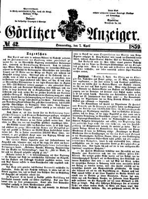 Görlitzer Anzeiger vom 07.04.1859