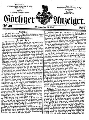 Görlitzer Anzeiger vom 10.04.1859