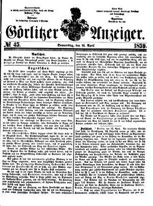 Görlitzer Anzeiger vom 14.04.1859