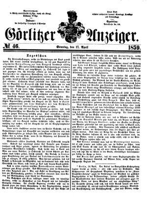 Görlitzer Anzeiger vom 17.04.1859