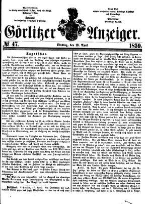 Görlitzer Anzeiger vom 19.04.1859