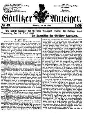 Görlitzer Anzeiger vom 24.04.1859