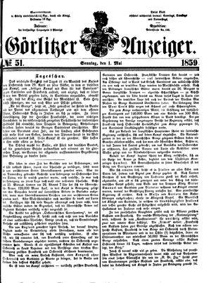 Görlitzer Anzeiger vom 01.05.1859