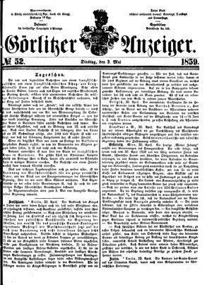 Görlitzer Anzeiger vom 03.05.1859