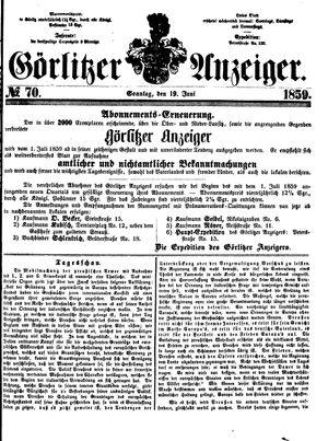 Görlitzer Anzeiger vom 19.06.1859