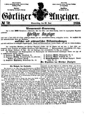 Görlitzer Anzeiger vom 23.06.1859