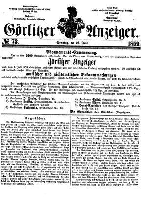 Görlitzer Anzeiger vom 26.06.1859