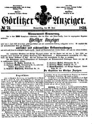 Görlitzer Anzeiger vom 30.06.1859