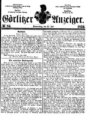Görlitzer Anzeiger vom 21.07.1859