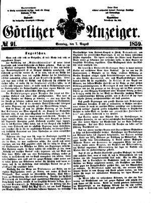 Görlitzer Anzeiger vom 07.08.1859