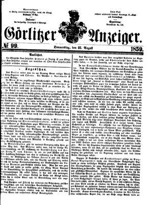 Görlitzer Anzeiger vom 25.08.1859