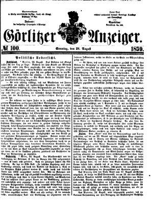 Görlitzer Anzeiger vom 28.08.1859