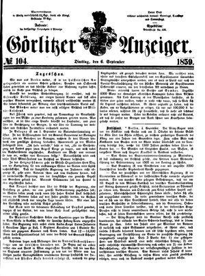 Görlitzer Anzeiger vom 06.09.1859
