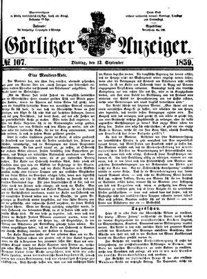 Görlitzer Anzeiger vom 13.09.1859