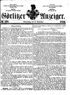 Görlitzer Anzeiger vom 15.09.1859