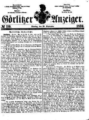 Görlitzer Anzeiger vom 20.09.1859
