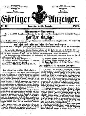 Görlitzer Anzeiger vom 22.09.1859